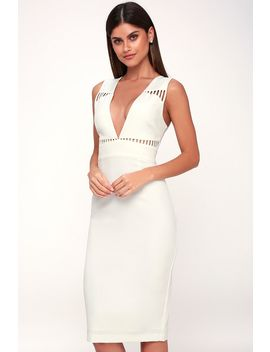 Lara White Sleeveless Cutout Midi Dress by Lulu's