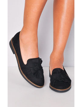 Twist Front Faux Suede Loafer Flats Black by Lily Lulu Fashion