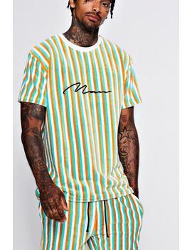 Man Signature Velour Stripe Short Set by Boohoo