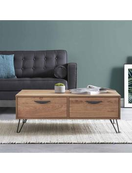 Retro Industrial Wood Coffee Table Hairpin Legs Side Drawers Storage Tv Stand by Ebay Seller