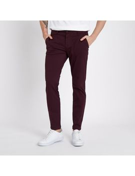 Burgundy Super Skinny Stretch Chino Pants by River Island