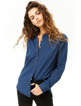 Denim Button Front High Low Shirt by Forever 21