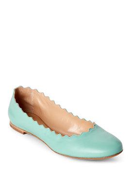 Aqua Blue Lauren Scalloped Ballet Flats by Chloe