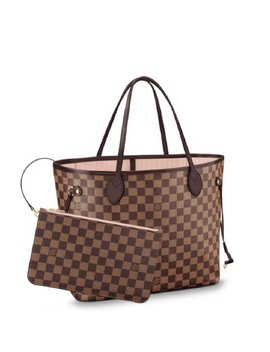 Neverfull 2018 Mm Damier Ebene Rose Ballerine Brown Canvas Tote by Louis Vuitton