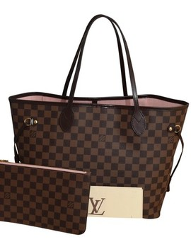 W Neverfull Mm In W/ Damier Ebene With Pink Ballerine Coated Canvas / Leather Tote by Louis Vuitton