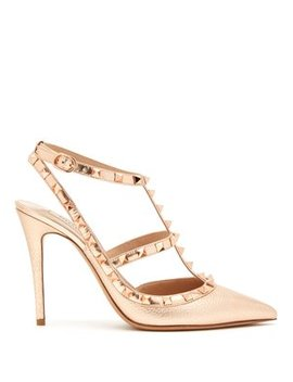 Rockstud Metallic Leather Pumps by Valentino