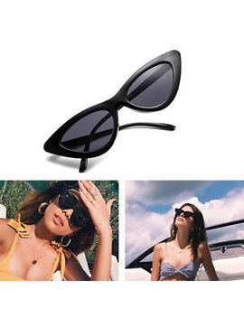 Black Lolita Tiny Retro Cat Eye Vintage Sunglasses Flat Lenses 400 Uv Free Case by Ebay Seller