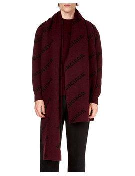 Men's Logo Intarsia Wool Scarf by Balenciaga