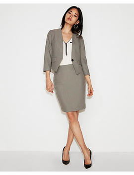 Windowpane One Button Cutaway Blazer by Express