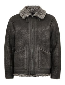 Grey Overdyed Faux Shearling Jacket by Topman