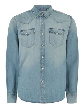 Levi's Blue 'barstow' Denim Long Sleeve Shirt by Topman