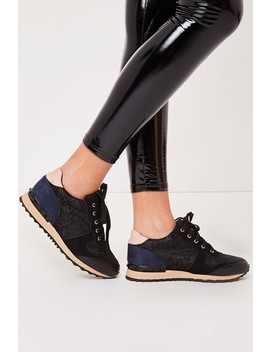 Nicky Black Lace Rockstud Trainers by Misspap