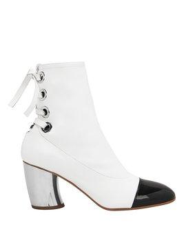 Cap Toe Silver Heel White Booties by Proenza Schouler