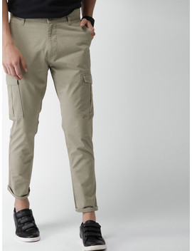 Mast & Harbour Men Khaki Regular Fit Solid Cargos by Mast & Harbour