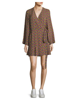 Whitney Bell Sleeve Floral Print Silk Wrap Dress by A.L.C.