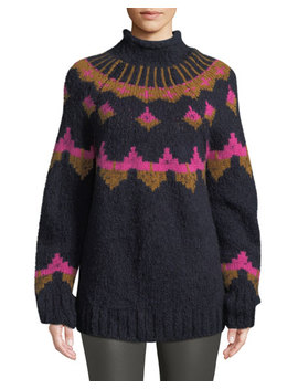 Shapiro Mock Neck Intarsia Wool Blend Sweater by A.L.C.