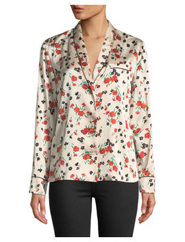 Leomie Floral Print Silk Button Front Top by A.L.C.