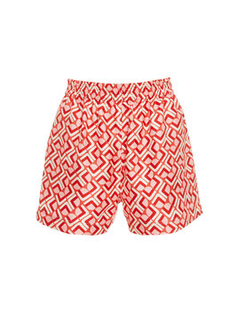 Boxer High Rise Printed Silk Shorts by La Double J