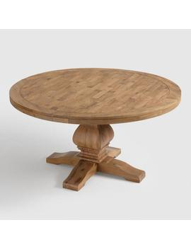 Round Gray Pine Wood Lisette Dining Table by World Market