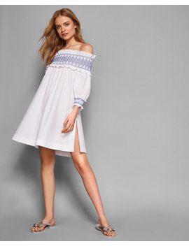 Off Shoulder Smocked Cover Up by Ted Baker