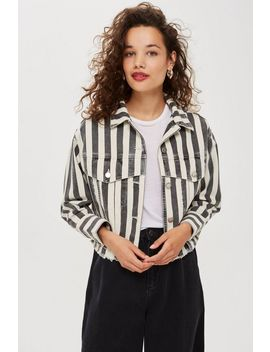 **Striped Denim Jacket By Boutique by Topshop