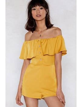 Sorry To Button In Off The Shoulder Romper by Nasty Gal