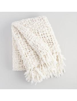 Ivory Chunky Knit Throw Blanket by World Market