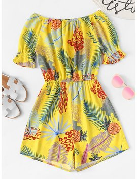 Off Shoulder Tropical Print Romper by Romwe