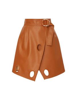 Wrap Effect Cutout Faux Leather Mini Skirt by Self Portrait
