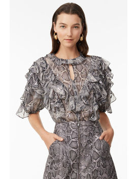 Snake Print Clip Ruffle Top by Rebecca Taylor