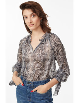 Snake Print Metallic Clip Top by Rebecca Taylor