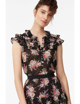 Bouquet Floral Ruffle Top by Rebecca Taylor