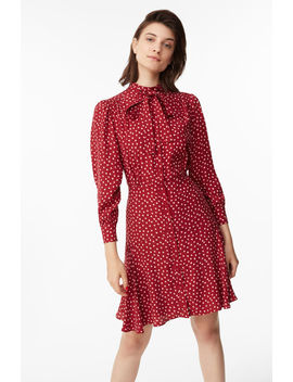 Blurry Heart Silk Tie Neck Dress by Rebecca Taylor
