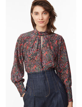 Hudson Paisley Mock Neck Top by Rebecca Taylor