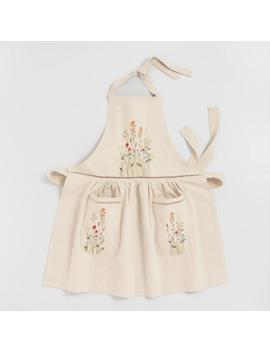 Natural Embroidered Floral Apron With Lace Trim by World Market
