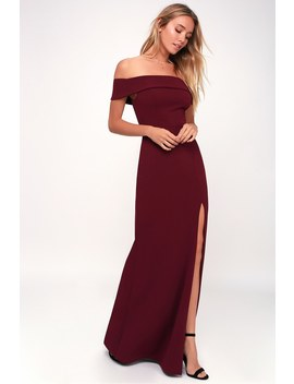Aveline Burgundy Off The Shoulder Maxi Dress by Lulu's