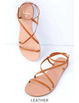 chrissy-cognac-leather-flat-sandals by lulus