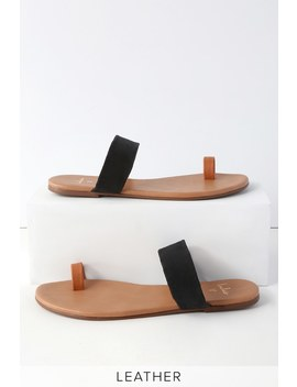 tessa-cognac-nappa-and-black-kid-suede-flat-sandals by lulus