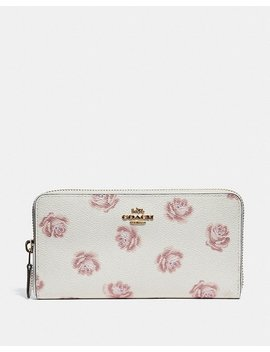 Accordion Zip Wallet With Rose Print by Coach