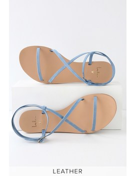 Chrissy Denim Blue Leather Flat Sandals by Lulu's