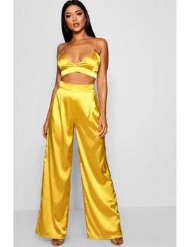 Satin Wide Leg Trousers by Boohoo