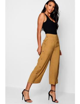 Woven Button Side Culottes by Boohoo