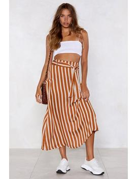 I Walk The Line Striped Satin Skirt by Nasty Gal