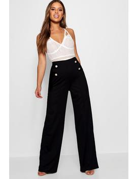 Petite Button Detail Wide Leg Trousers by Boohoo