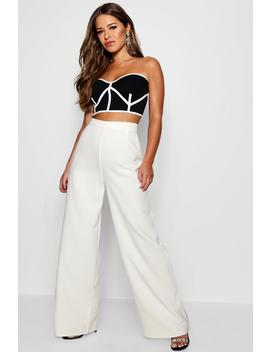 Petite High Waisted Woven Wide Leg Trousers by Boohoo