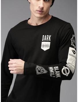 Moda Rapido Men Black Solid Round Neck T Shirt by Moda Rapido