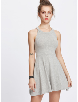 Grey Halter A Line Flare Dress by Romwe