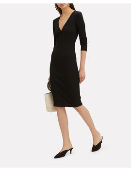 Molly Button Front Ribbed Dress by Intermix