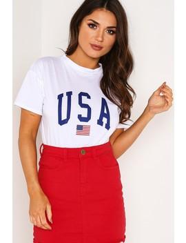 White Usa Slogan T Shirt by Lasula
