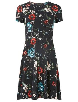 Navy Floral Print Skater Dress by Dorothy Perkins